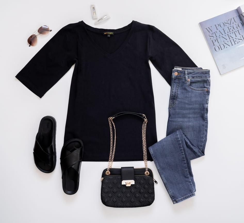 Bluzka z rękawem midi czarna - odCZAPY